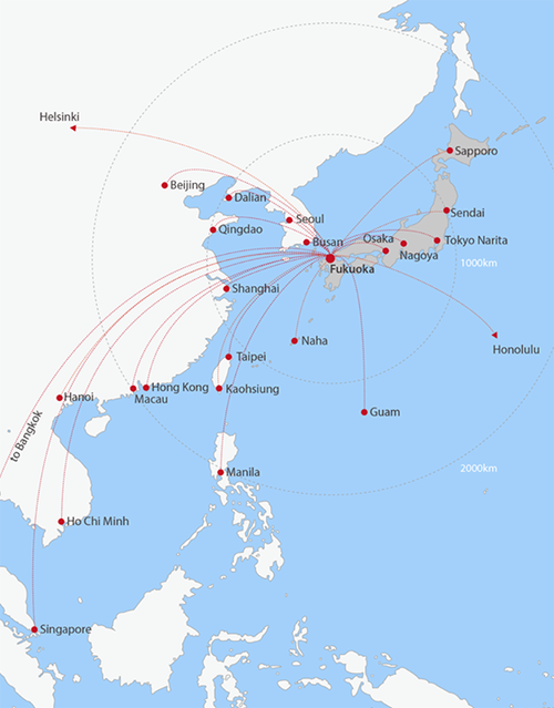 Love doing business on a global scale? It's easy to interact with other companies and investors in key cities because Fukuoka is located right in the heart of East Asia. Many major domestic and international airports are just a short, direct flight away i