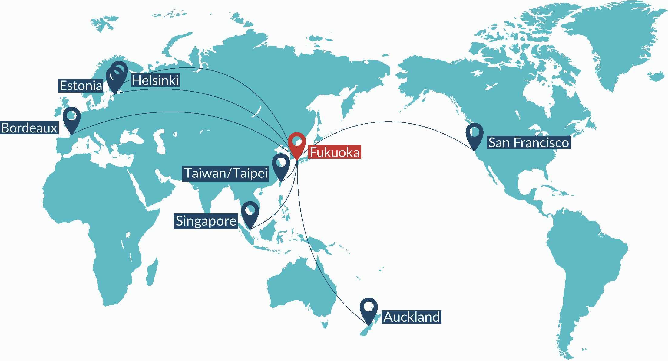 map showing fukuokas partner cities