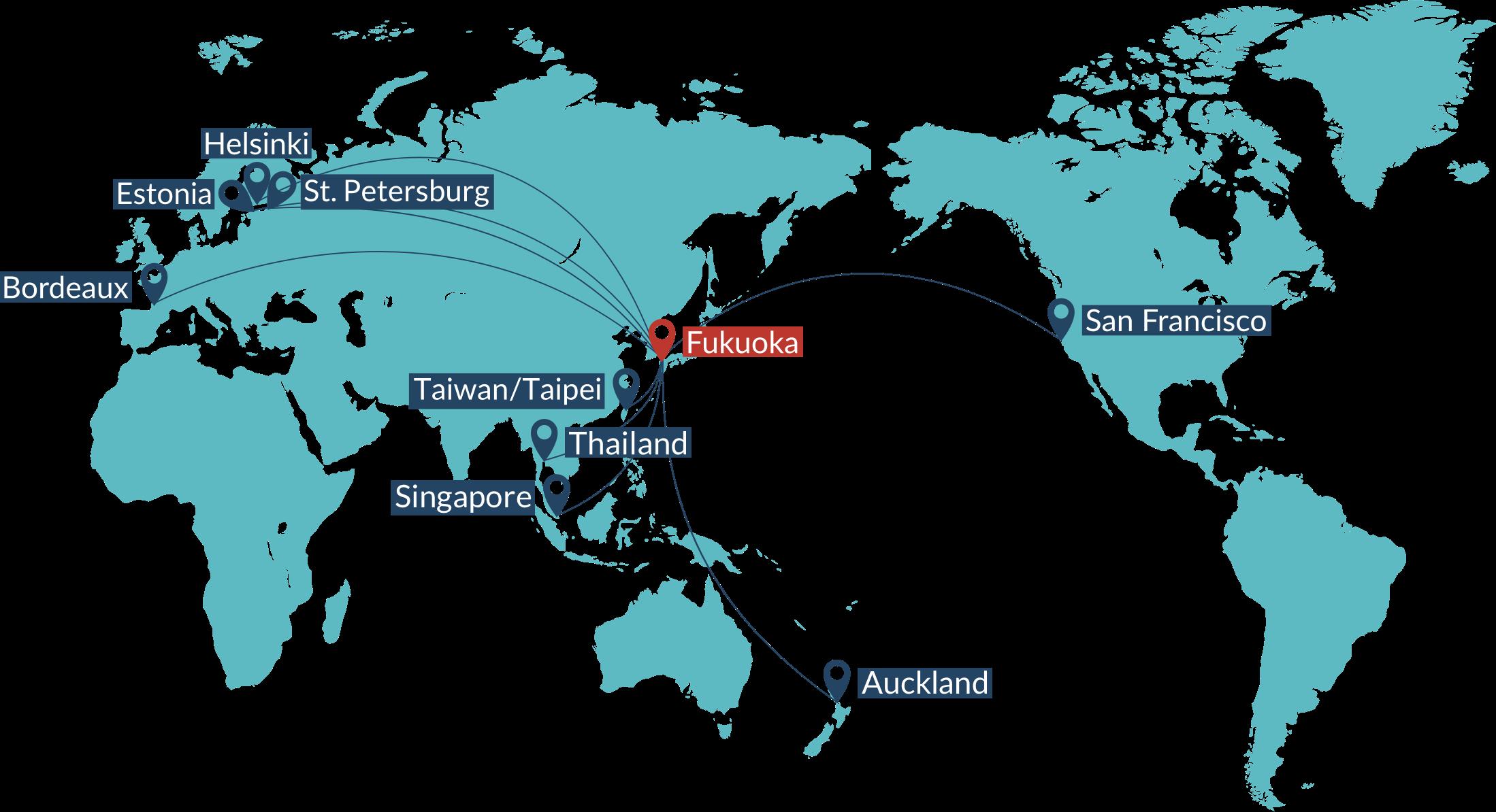 map showing fukuokas partner cities
